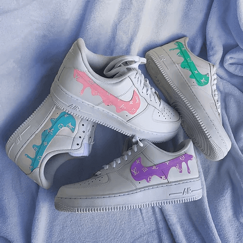 Opplain Custom Sneakers - Pastel Drip LV